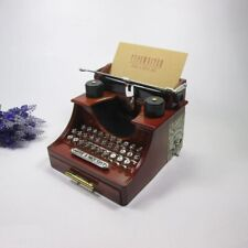 Classic Music Clockwork Toy Typewriter Drawer Retro Wooden Clockwork Table