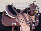USED 16 in CUSTOM WESTERN SHOW TRAIL BARREL LEATHER HORSE SADDLE TACK