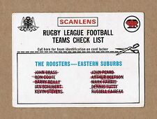 1976 EASTERN SUBURBS EASTS SYDNEY ROOSTERS TEAM CHECKLIST NRL RUGBY LEAGUE CARD