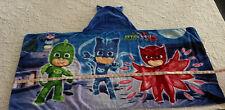 PJ Masks Kids Cotton Bath & Beach Hooded Towel Wrap Blue Background 3 Heroes
