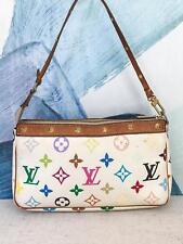 $680 LOUIS VUITTON White Multi-color Canvas Pochette Leather Trim Studs Bag