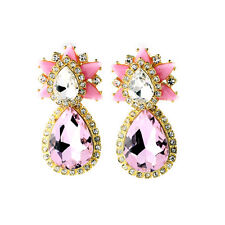 Costume Fashion Earrings Clips Pendant Gold Drop Pink Star Big Marriage  J4