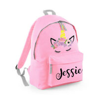 Personalised Unicorn Backpack Kids Nursery Name Girls Back To School Bag MBUNI