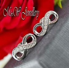 925 Silver Rhodium Plated Studs Earrings INFINITY white Zirconia 5mm x 12mm
