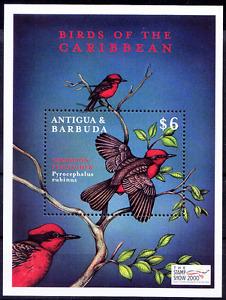 Antigua Barbuda 2000 MNH MS, Vermilion Flycatcher, Birds