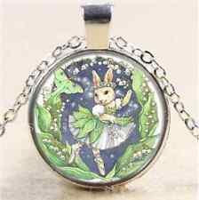 Beautiful Ballerina Bunny Cabochon Glass Tibet Silver Chain Pendant Necklace