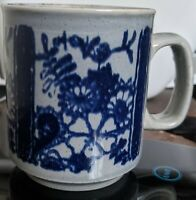 Vintage WP Pottery Made in England Stoneware mug Blue Gray floral design