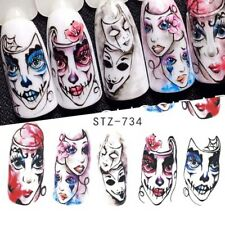 Nail Art Water Decals Stickers Transfers Halloween Freaky Masks Scary (STZ734)