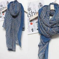 Blue Long Soft Cotton Printed Ladies Large Long Women Sarong Scarf Wrap Shawl