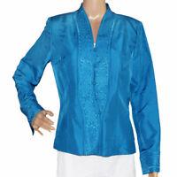 ADRIANNA PAPELL Womens Jacket Blue Silk Size 8 EUC