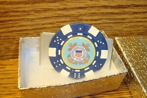U.S. Coast Guard Money Clip Aluminum Poker Chip Dome image Blue/White