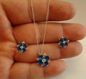 FLOWER DESIGN EARRING & NECKLACE PENDANT SET W/ LAB DIAMONDS & TANZANITE/ 18''