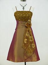 Cherlone Gold Prom bal soirée mariage formel demoiselle d'honneur robe de soirée Taille 14-16