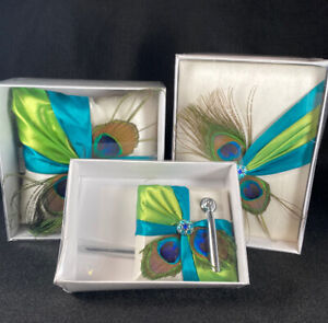 Peacock Feather Guest Book Set with Pen Holder, Silver Pen, and Ring Pillow