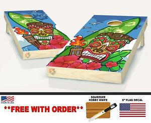 Cornhole Tiki Hut Hawaiian Tropical Board Vinyl Wrap Laminated Sticker Set