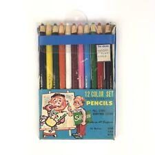 Vintage Art Color Pencil Set Of 12 Pc Coloring Vintage Art Tools Wrap Pencil