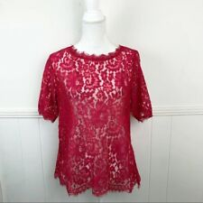 Anthropologie Vanessa Virginia Red Lace Short Sleeve Blouse Top Women Medium