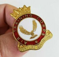 Vtg Air Training Corps Venture Adventure Enamel Gold Tone Pin British ATC