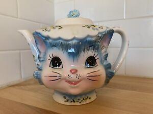 "LEFTON ""MISS PRISS"" BLUE KITTY TEAPOT #1516 w/LID"