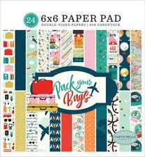 Carta Bella PACK YOUR BAGS 6x6 Paper Pad 24pc Travel Vacation Planner Echo Park