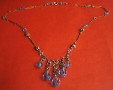 A945) Vintage Art Deco Vintage Gold Tone Open Back lunetta taglio vetro cristallo azzurro