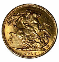 1911 Gold Sovereign Coin Melbourne Mint George V (1910-1936) Mint Condition