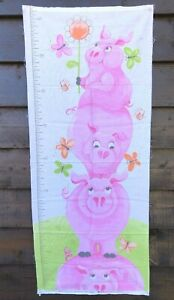 Cute Pig Cot Quilt and Height Chart Panels
