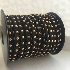 4mm Faux Suede Cord With Studs and Rivets Flat Black Lace In 1, 2, 3 Meters