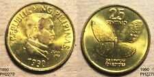 PHILIPPINES 25 Sentimos 1990 unc coin with some spots & marks BUTTERFLY