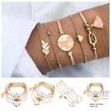 5Pcs/Set Women Heart Map Shell Tassel Beads Bracelet Bangle Fashion Jewelry