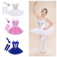 Girls Gymnastics Ballet Dress Toddler Kids Leotard Tutu Skirt Dance Swan Costume