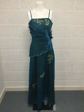 BNWT Cherlone Satin Embellished Dress - Ball Gown Bridesmaid Prom Teal Gold - 14