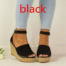 UK Womens Ladies Flatform Cork Espadrille Wedge Sandals Ankle Strappy Shoes Size