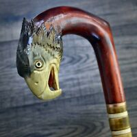Unique Wooden Walking Stick Cane Hiking Staff hand carved Handmade - US Eagle