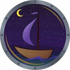 Sail Boat Sailing Scene Marine Circle Night Sticker Decal Graphic Vinyl Label V2