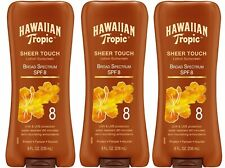 3 Pack Hawaiian Tropic Lotion Sunscreen, Spf 8 8 oz