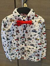 New F & F Boys Reindeer Car Festive Bow Tie Smart Christmas Shirt Age 2-3yrs