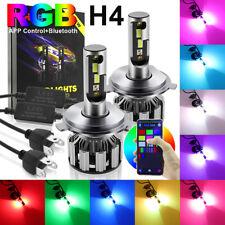 2x RGB H4 9003 LED Headlight Kit 10000LM 50W Fog Lamp Bright Bluetooth Control