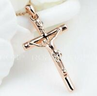 18K ROSE GOLD FILLED P51 CRUCIFIX CROSS LADIES MENS SOLID NECKLACE PENDANT GIFT