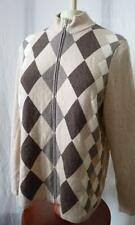 CHARTER CLUB 100% CASHMERE FULL ZIP ARGYLE SWEATER XL