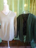 lot 2piéces  pull et gilet tricoté  vert == a saisir !