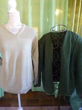 lot 2piéces  pull et gilet tricoté  vert == uni-sexe