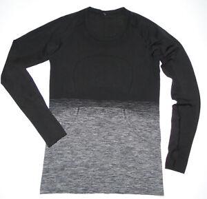 LULULEMON Long Sleeve RUN SWIFTLY Shirt GRAY BLACK Ombre Thumb Holes DAMAGED 10