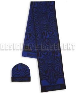 ROBERTO CAVALLI wool blend Blue/Black ZEBRA scarf & hat Set NIB BOXED Auth $435!