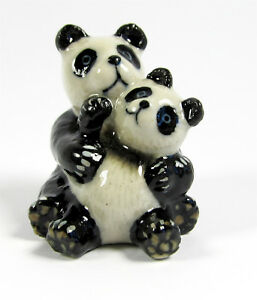 Miniature Porcelain Panda with Baby Figurine Approx 3cm HIgh