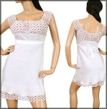 """NEW! Sexy BABY DOLL Mini COSPLAY Dress in WHITE w/ Red PRINT ~ MEDIUM / Bust 34"""""""