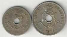 2 OLDER COINS from BELGIUM - 10 & 25 CENTIMES/BOTH 1921/BOTH FRENCH