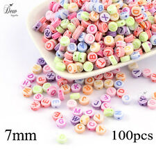 200 x alphabet acrylic beads mixed colour letter bead findings 7mm