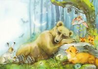 Teddy brown bear sleeping hare red fox bats animals Russian modern postcard