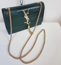 Ladies FASHION YSL coccodrillo in pelle lunga catena Crossbody Pochette Verde